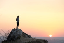 Silhouette Of A Woman Hiker St...