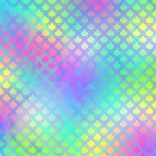 Holographic Mermaid Scales On Gradient Background - Cute Holographic Scales Pattern On Bright Neon Gradient Background