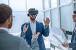 canvas print picture - architect using virtual reality glasses in the workplace.