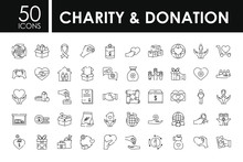 Charity And Donation Icon Set,...