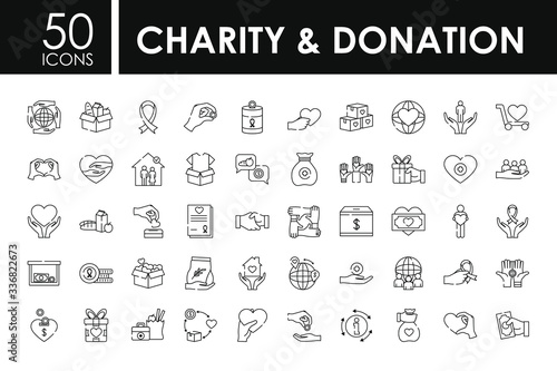 charity and donation icon set, line style Canvas Print