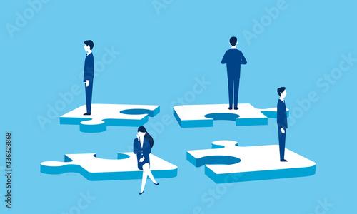 ビジネスチームとパズル、チームワーク崩壊のイメージ Wallpaper Mural