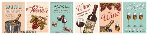 Foto Wine posters or vineyard banners