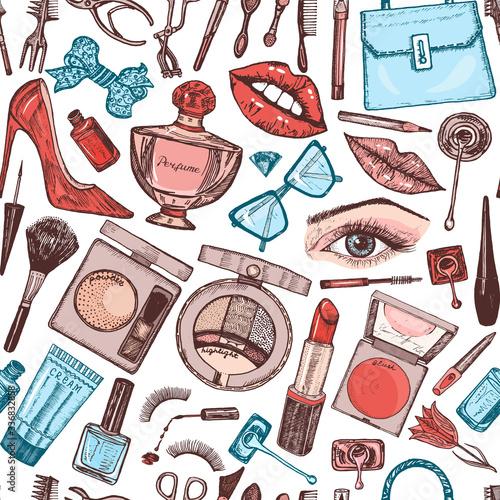 Tapety Glamour  kosmetyki-do-makijazu-wzor-tla-doodle-kolekcja-produktow-dla-kobiet-elementy-dekoracyjne-do-salonu-kosmetycznego-recznie-rysowane-vintage-grawerowane-szkic-zarys-naklejki-oko-usta
