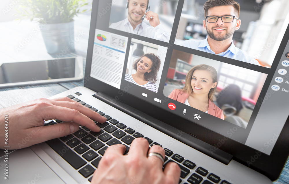 Fototapeta Remote learning or work. Video conference concept.