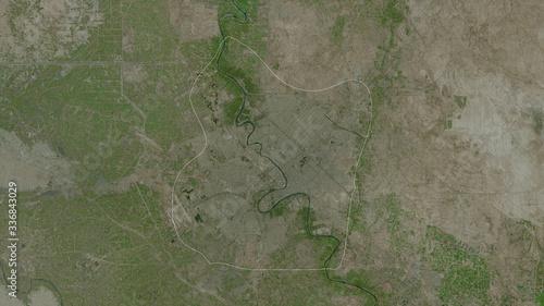 Baghdad, Iraq - outlined. Satellite Fototapet