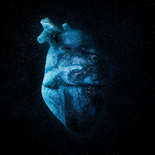 An Ice Cold Blue Heart Over Black