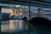 Nihon Bridge Over River In City