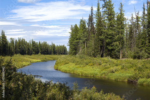 Obraz  Nature blooms in spring. Chona river in the north of the Irkutsk region.  And in the depths of the Siberian tagi, among the dense forest on the river bank - fototapety do salonu