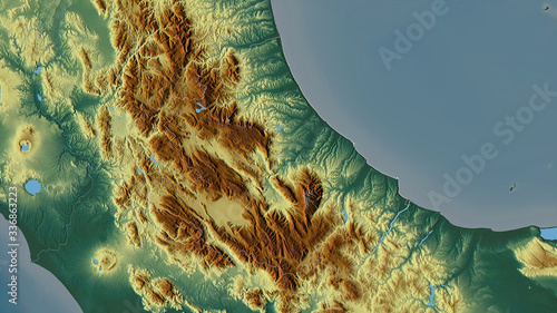 Abruzzo, Italy - outlined. Relief Canvas Print