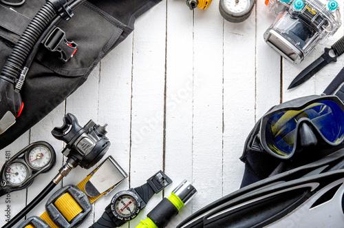 Full set of scuba diving equipment Fins, Regulator/Octopus, Depth Gauge, Balanced Regulator,Power Inflator, Dive Mask and Snorkel , aqualung Canvas Print