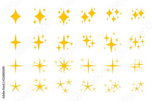 Fototapeta Yellow flat sparkles symbols icon set. Graphic element shiny flash. Decoration starry twinkle. Glitter bright different shape, burst firework glowing light effect.Isolated on white vector illustration obraz na płótnie