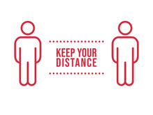 Social Distance Sign. Keep Your Distancing From Other People In Public. Coronavirus Pandemic Preventive Measures. People Pictogram Vector Icon.