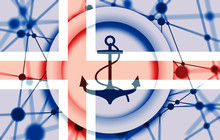 Anchor Icon On Abstract Backdrop. Molecule And Communication Background. Connected Lines With Dots. Flag Of The Iceland