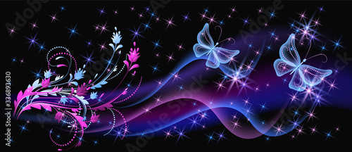 Fantasy fabulous butterflies with mystical flowers ornament and sparkle glowing stars