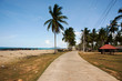 View landscape and coconut tree at Banton Beach and village in lower southern Narathiwat provinces, Thailand