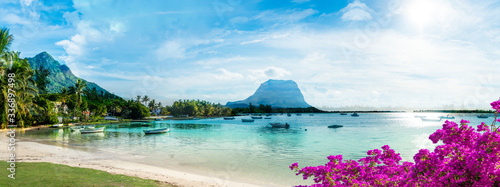 Mauritius landscape with la Gaulette fisherman village and Le Morne Brabant moun Fototapet