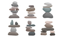 Smooth Stones And Pebbles Balancing On Each Other Creating Tower Vector Set