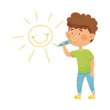 Cheerful Little Boy Drawing Sun With Pencil On The Wall Vector Illustration