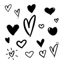 Vector Hand Drawn Heart Doodles