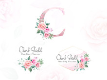 Watercolor Floral Logo Set For...
