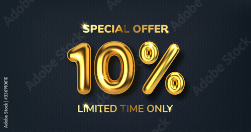 Fotografía 10 off discount promotion sale made of realistic 3d gold balloons