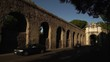 Rome, Italy. View of the arch of Tiradiavoli on the ancient Aurelia road next to the Paolo aqueduct