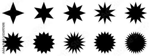 black silhouettes of star ray burst vector icon background pattern Tablou Canvas