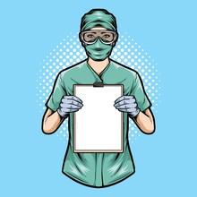 Medical Nurse Holding Clipboar...