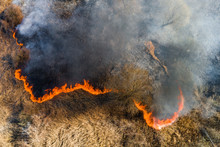 Aerial View Of Wildfire On The...