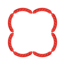 Set Of Sausages In The Shape Of A Square. Sausage Square Frame On White Background. Flat Vector Illustration.