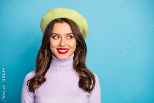Closeup photo of amazing traveler lady toothy beaming smiling look side empty sp Fototapet