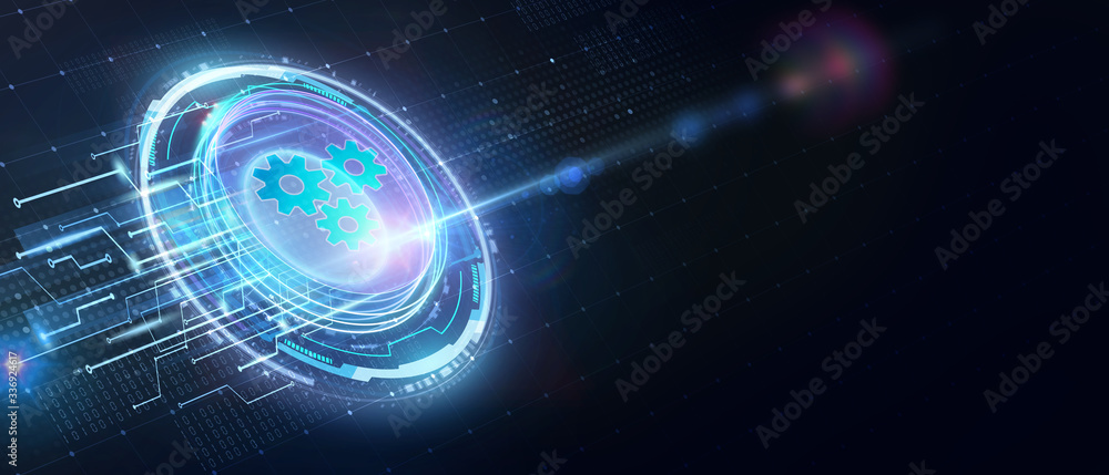 Fototapeta Business, Technology, Internet and network concept. Automation Software Technology Process System.