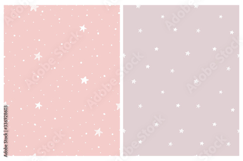 Fototapeta Tiny Stars Vector Patterns. Irregular Hand Drawn Simple Starry Sky Print for Fabric, Textile, Wrapping Paper. Infantile Style Galaxy Design.Little Stars Isolated on a Various Pastel Pink Backgrounds.  obraz na płótnie