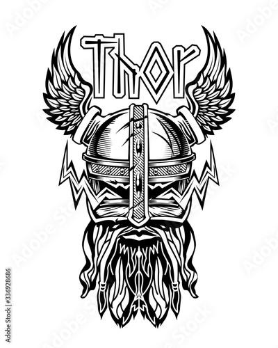 Leinwand Poster Thor Head Helmet Viking God Logo Emblem