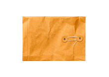 Top View Closed Brown Envelope Isolated On White Background And Clipping Path
