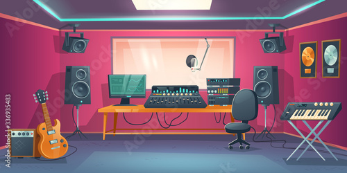 Music studio control room and singer booth behind glass Canvas Print