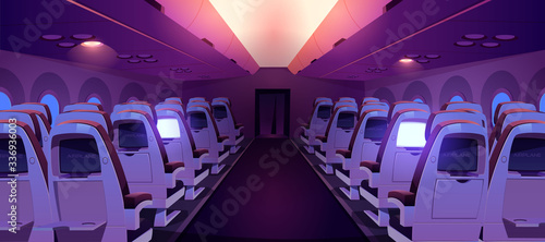 Airplane cabin with seats and screens inside rear view. Dark economy class plane empty interior with chairs and folding tables rows, aircraft salon armchairs for jet trip. Cartoon vector illustration