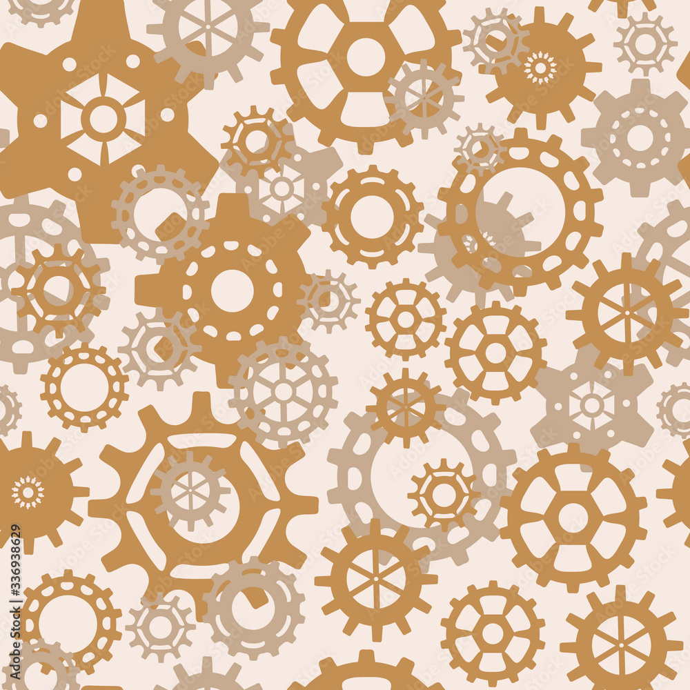 steampunk Seamless pattern with gears . Vintage mechanisms, vector background