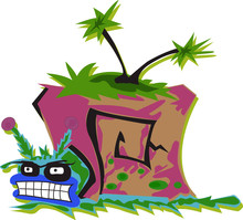 Drawn Cartoon Snail Monster With Palm Trees. Full Color Vector Illustration For Fun Design.
