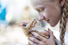 Girl And Little Ginger Kitten