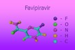 canvas print picture - Molecular model of favipiravir, a broad spectrum inhibitor of viral RNA polymerase. It is a perspective antiviral drug against the COVID-19 and Ebola diseases. Scientific background. 3d illustration