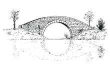 Drawing Of Classic Stone Bridge - Black And White Illustration