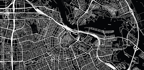 Urban vector city map of Amsterdam, The Netherlands Canvas Print