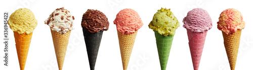 Fototapeta Banner with a set of ice-cream in cones obraz