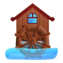 Water Mill Icon. Cartoon Of Wa...