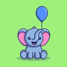 Cute Elephant Balloon Vector I...