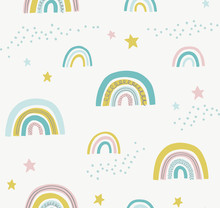 Hand Drawn Cute Abstract Pattern With Rainbows And Stars. Rainbow Doodle Vector Seamless Background. Design For Fabric.