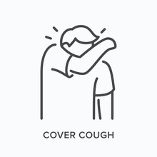 Coughing Person Line Icon. Vec...