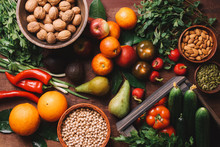 Variety Of Vegetables, Fruits,...